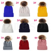 Wholesale crochet baby hat braids for sale - Group buy Baby Crochet Caps Kids Fur Ball Twisted Knitted Hats Imitation Braid Hair Ball Cap Children Winter warm Hat Colors Accessories dc928