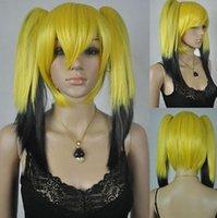volle pferdeschwanzperücken großhandel-Perücke WBY Loli Lolita 2 Clip-on Pferdeschwanz Lange Gerade Gelb Schwarz Volles Haar Perücke