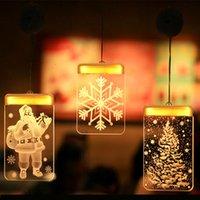 sinos de natal iluminados venda por atacado-Natal LED Fada Luzes Acrílico Warm White 3D férias Night Light de suspensão de Santa Sino Snowflake Janela Iluminação Decoração