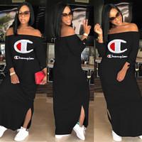 plus größenlänge hülsensommerkleider großhandel-Champions Frauen Casual Kleider heiße Verkäufe stilvolle Sommerkleid aus Schulter Mantel / Spalte Cap Sleeve bodenlangen Druck Split plus Größe
