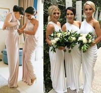 longitud del té de la vendimia vestidos de novia azul al por mayor-Un partido del hombro púrpura de Marfil Champagne largo de dama de honor vestidos drapeados vestidos de satén de dama de honor Dividir los vestidos de boda de los huéspedes