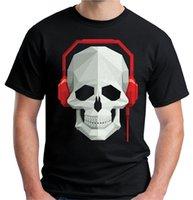 наушники с черепами оптовых-Velocitee Mens Skull Наушники Футболка DJ Rave Festival Music V7 страх косплей Ливерпуль футболка