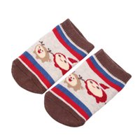 yeni doğan yılbaşı çorapları toptan satış-1 Pairs Noel XMAS Bebek Bebek Çorap Yenidoğan Pamuk Erkek Kız kaymaz Kawaii Anti-Patinaj Toddlers Terlik Çorap