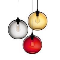 küchenkugel deckenleuchten großhandel-Vintage Industriependelleuchten Metallanhänger-Deckenleuchte 6 Farbe Glaskugel Hanglamp Küche Restaurant Lichter leuchten
