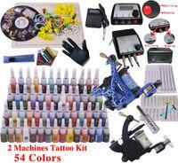 ingrosso kit di equipaggiamento permanente di trucco-YLT-12 Tattoo kit completo strumento tatuaggio attrezzature 2 macchinette trucco permanente macchina punta aghi set di alimentazione