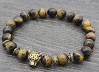 ingrosso anello di buddha d'oro-8mm vc233 argento oro rame leone braccialetto elastico giallo Tigereye Buddha Yoga fascino natura pietra perline Bangles regalo delle donne
