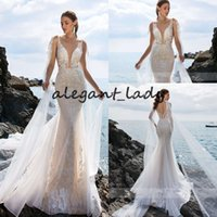 Wholesale long cape short dress resale online - Sexy Deep V neckline Backless Mermaid Wedding Dresses with long wrap cape Spaghetti Straps beach Bridal Dress Romantic Wedding Gowns