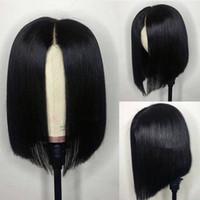 peluca de pelo natural africano al por mayor-Bob pelucas para mujeres afroamericanas Virgen peruana Bob corte corto de encaje Frente Pelucas de cabello humano barato
