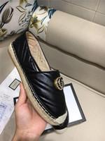 cuero usado al por mayor-Mocasines de cuero clásicos para mujeres, pisos de alpargatas con suela de paja Tejidos casuales de Fisher Zapatillas de mujer para uso diario
