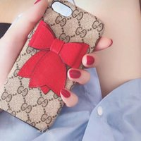 Wholesale cell phone cases for girls for sale – best Retro Red Bow Deluxe Designer Cell Phone Case for iPhone X XS MAX XR plus plus plus s Plus Shockproof Shell Cover for Lady Girl