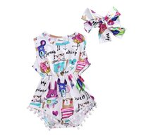 Wholesale romper for girl kid resale online - Baby Girl Clothes Cotton Sleeveless Romper Graffiti Printing Jumpsuit Headband Girls Set Cute Baby Clothes Kids Clothing for Girls