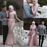 Wholesale long sleeve evening dresses for sale - Said Mhamad Muslim Mermaid Evening Dresses Long Sleeves Lace Applique special occasion dresses evening wear gowns vestidos de fiesta