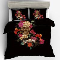 бордовое постельное белье оптовых-Цветочный скелет комплект постельных принадлежностей 3шт милый креативный дизайн пододеяльник наволочки размер Великобритании один двойной Король