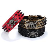 bit zinciri toptan satış-Siyah Altın Kravat Tırnak Köpek Yaka Kafatası Perçin Pet Yaka Anti-Bite Köpek Çivili Çivili Büyük Zincir Çekiş