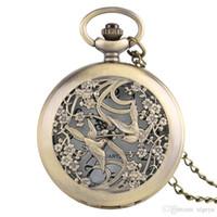 relojes de amistad al por mayor-2018 Hombres Mujeres Moda Bronce Vintage Magpie Bird Reloj de Bolsillo Redondo Números Arábigos Dial Análogo Reloj de Regalo de Amistad