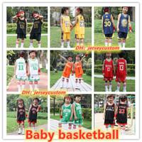 наборы баскетбольных трикотажных изделий оптовых-2019 warrio Paris дети комплект баскетбол носить Картер Джеймс Westbrdok Лиллард колледж Джерси баскетбол наборы
