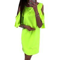 beyaz yeşil şifon elbiseler toptan satış-Vintage Yaz Plaj Elbise Artı Boyutu Kapalı Omuz Neon Yeşil Elbiseler Kadın 4XL 5XL Siyah Beyaz Pembe Şifon Kulübü Mini Elbise 2019