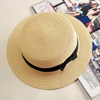 носовой платок оптовых-Sun hats Foldable womens sunhats Bow women's hat Summer flat eaves dome cap Headwear
