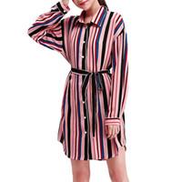 ofis rahat elbise çizgili toptan satış-2019 Çizgili taze mini elbise çizim markalı bluzlar sonbahar ofis kadın sıcak elbise casual turn down gelinlik donut sıcak
