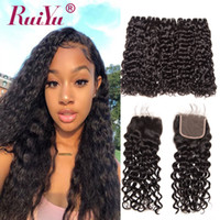 Wholesale mink curly brazilian hair resale online - Mink Brazilian Virgin Water Wave Kinky Straight Bundles With Closure Wet and Wavy Bundles Unprocessed Human Hair Weave With Lace Closure