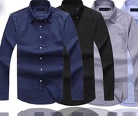 Wholesale high quality branded dresses for sale - Group buy Mens Designer Dress Shirts High Quality Business Polo Shirt Pony Embroidery Brand White Shirt Ralph Luxury Lauren Men Shirts