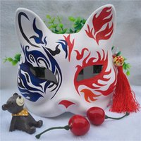 Wholesale cat paint mask resale online - Pulp Paper Upper Half Face Colorful Hand Painted Cartoon Fox Mask Cosplay Masquerade Decoration Styles to Choose