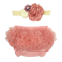 Wholesale baby ruffle bloomers pink for sale - Group buy Baby Girls Lace Ruffle Shorts with Headband Toddler Lace Layered Tutu PP Pants Newborn Girl Bottom Bloomer Outfit Photography Props