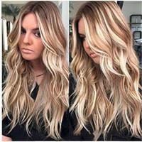 pelucas de color para mujer al por mayor-Detalles sobre Womens Rizado peluca larga de pelo ondulado Ombre Rubio sintético natural pelucas llenas traje