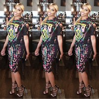 c5fadeb4e8c7e Summer Fashion Novelty Printed Sexy 2 Piece Dress Women Short Sleeve Casual  T Shirts And Double Side Tassel Pencil Skirts