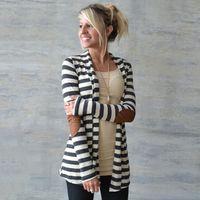 полосатые кардиганы для женщин оптовых-Дизайнер женские свитера 2019 новое прибытие кардигана вскользь Полосатый женщин свитер куртка с длинным рукавом высокого качества одежды