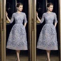 cristal robes de bal longueur de thé achat en gros de-Robe de soirée sexy de célébrité sur mesure robes de soirée Elie Saab élégante dentelle Applique A-ligne de bal robes 3/4 longueur de thé à manches longues