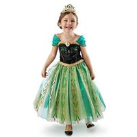 ingrosso il migliore abito dell'abito dei capretti-1pcs 2019 Ragazze Anna Cosplay Princess Dress partito doganale Cheap Best Kids Pasqua Halloween Off Shouler Patchwork Abiti convenzionali Abiti