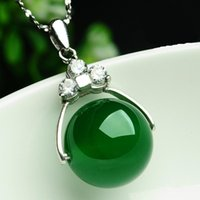 Wholesale natural green jade pendant for sale - Group buy A cargo of natural jade pendant transport bead lulutong silver necklace jade female model