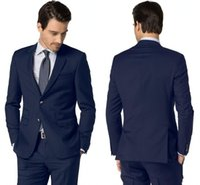 chaquetas de dos lados al por mayor-Buena calidad, color azul marino, negocios, esmoquin de solapa con muesca formal con dos botones, ventilación lateral, conjunto de ropa de fiesta por la noche (chaqueta + pantalones)