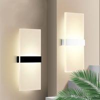 ingrosso lampada da parete per la stanza-Lampada da parete a led in acrilico mini 3/6 / 12W AC85-265V Lampada da parete per soggiorno bianca calda lunga da parete