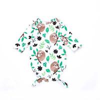 miúdos dos desenhos animados que dormem venda por atacado-Saco de Dormir do bebê Roupas Tipo Manga Longa Dos Desenhos Animados Folhas Preguiça Crianças Impresso Sacos De Dormir Mistura De Algodão Macio E Confortável 57