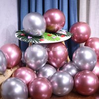 Wholesale bunny balloon resale online - 100Pcs Metallic Latex Balloon quot High Quality Metal Balloons Multi Colors Christmas Party Celebration Decoration