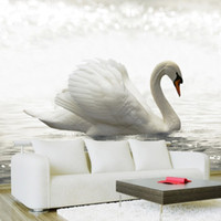 Wholesale arts swans resale online - 3D Wallpaper Modern Art Fashion White Swan Lake Photo Wall Mural Cafe Dining Room Hotel Simple Home Decor Luxury Wall Papers D