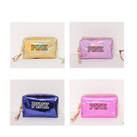 Wholesale korean makeup storage for sale - Group buy Makeup bags cosmetic bag Love Pink letter Hologram Laser Cosmetic bag Make Up bags Large capacity Storage waterproof wash tolitery bag
