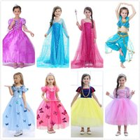meninas brincam vestidos venda por atacado-Menina Princesa Cosplay Traje Vestido Filme Role Play Festa de Aniversário Vestidos De Casamento Vestidos para o Dia Das Bruxas Natal