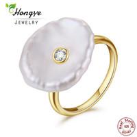 anillos de perlas barrocas al por mayor-Hongye Anillo de Perlas de Agua Dulce Natural 925 Joyas de Plata de ley Anillos de Oro de Perla Barroca Diseñador de Moda Para Mujeres Boda