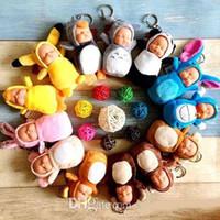 bonito bonecas chaveiro venda por atacado-Bonito Totoro brinquedos de pelúcia com Chaveiro Dormir Baby Doll Chaveiro Anéis Para As Mulheres Saco Acessórios Do Carro Chaveiro Pompom bonecas para crianças brinquedo