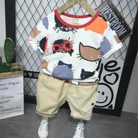 ingrosso vestiti di stile dei ragazzi-Insiemi dei bambini Boy Cartoon T-shirt e pantaloncini Summer Children Clothing Set Cotton Kids Outfit New Style Boys Clothes