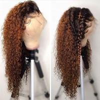 ombre curly hair оптовых-Ломбер вьющиеся полный парик шнурка блондинка два тона цвет 1b# 30# бразильский полный кружева фронт человеческих волос парики кудрявый вьющиеся с волосами младенца