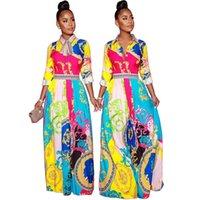 kravat maxi elbise toptan satış-Bahar Kadın Tasarımcı Elbiseler Lüks Tasarımcı Papyon Kontrast Renk Robe Moda Kadınlar Parti Maxi Elbiseler