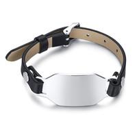 ingrosso bobine di metallo-Bracciale in acciaio e pelle nera Bracciale in metallo bianco Bracciale in metallo Tag per timbratura in bianco Incisione personalizzata gratuita