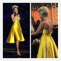 parlak sarı şort toptan satış-Parlak Sarı Kokteyl Elbiseleri Akşam Aşınma Spagetti vestidos de fiesta Boncuklu Kısa Parti Elbise Özel Balo Elbise