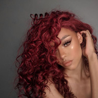 Wholesale glueless full lace wigs natural look for sale - Group buy Deep Curly Brazilian Human Hair Wigs j Red Virgin Hair Front Lace Wig Bleached Knots Glueless Full Lace Wigs Natural Look