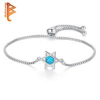 Wholesale geometric bracelets online - Adjustable Silver Charm Bracelets For Women Wedding Fashion Jewelry Blue Crystal CZ Geometric Star of David Bracelet amp Bangles