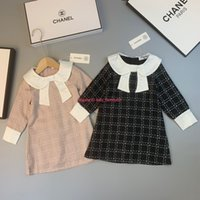 Wholesale kids plaid beach shorts for sale - Group buy Autumn new girls dress kids designer clothes fashion long sleeve dress plaid slim dress polyester fabric lining cotton news